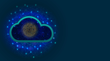 Cloud data protection concept with biometric fingerprint scanner on blue background. Cyber security technology. Vector illustration