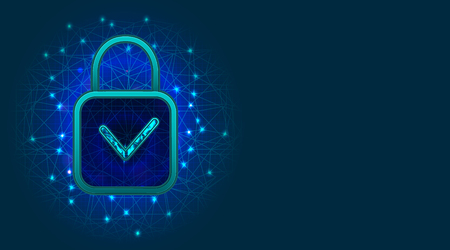GDPR or General Data Protection Regulation. Cyber security technology design with padlock and check mark. Information safety, digital data protection concept. Vector illustration