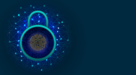 Cyber security and information or network protection concept with padlock and fingerprint scanner on abstract background with copy space. Vector illustration Ilustração