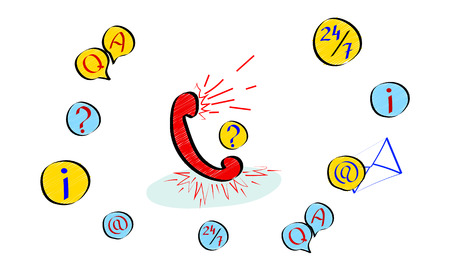 Customer service concept, hotline advises client, online global technical support 247, customer faq help. Flat style vector illustration