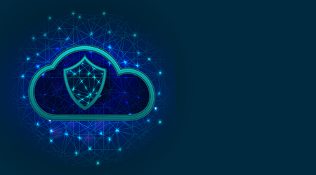 Cloud storage with data protection technology concept, shield and check mark icon on abstract polygonal background with copy space. Vector illustration