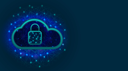 Cyber security concept. Cloud storage with data protection technology, padlock icon on abstract polygonal background with copy space. Vector illustration Illustration