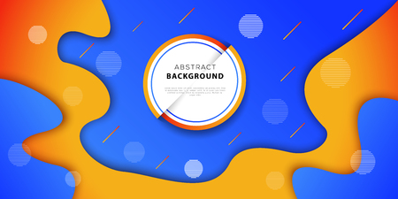 Abstract geometric background with blue and orange colors. Futuristic poster design with fluid gradient shapes. Vector illustration