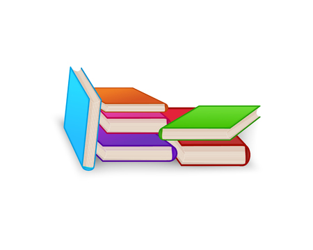 World book day. Stack of colorful books isolated on white background. Education vector illustration.