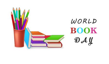 World book day poster or banner with stack of pencils. Education concept vector illustration. Pile of books. Ilustração