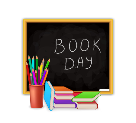 World Book Day concept with blackboard and school supply isolated on white background. Education vector illustration design.