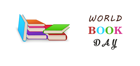 World book day. Stack of colorful books isolated on white background with copy space. Education vector illustration.