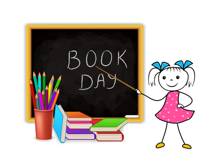 World Book Day concept on white background. Education design with stickman schoolgirl pointing to blackboard with school supply. Stack of pencils and pile of books. Vector illustration.