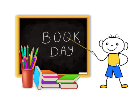 World Book Day. Education concept with doodle schoolboy pointing to blackboard, stack of pencils and pile of books. Vector illustration.