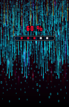 Matrix background. Big data progress loading visualization. Blue flow of data as numbers strings. Digital binary code representation. Cryptographic analysis. Vector illustration