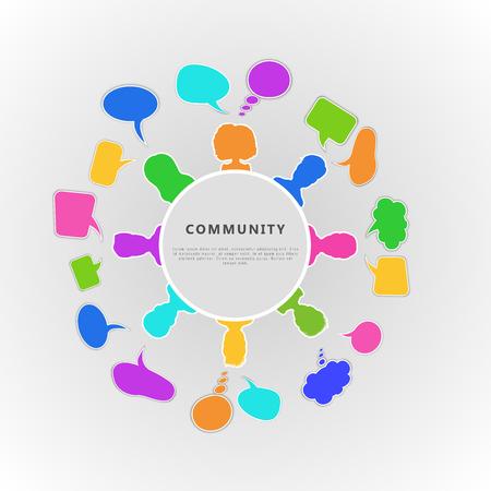 Concepto de infografía comunitaria. Diseño de banner para equipo empresarial, comunicación a través de redes sociales, cooperación de personas y amistad. Ilustración vectorial plana