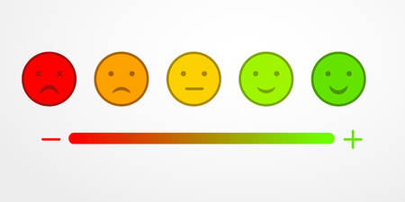 Retroalimentación o calificación de satisfacción, valoración, con sonrisas en forma de diversas emociones. Revisión de la calidad del servicio al cliente por nivel de tarifas. Ilustración de vector de estilo plano