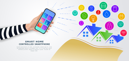 Smart home remote control with mobile phone. Hand holding smartphone with mobile app with icons on screen for home automation system. Internet of things (iot). Wireless connection of digital devices