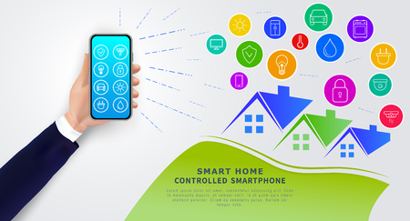 Smart home controlled by smartphone. Hand holding mobile phone with app for remote control of home automation system. Internet of things (iot), icons of electronic devices. Wireless technology. Vector