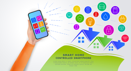 Smart home automation technology concept. Eco friendly modern house. Hand holding smartphone with mobile app for remote home control system. Internet of things with icons of home electronic devices.