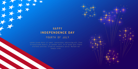 Independence Day background with fireworks and USA flag. Fourth of July celebration banner, poster, flyer, greeting card design. Memorial Day. Space for text. Vector illustration.
