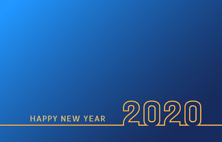 New Year 2020 line text design with golden numbers on blue background. Holiday banner, poster, flyer, greeting card or invitation template. Year of the Rat. Vector illustration Ilustração