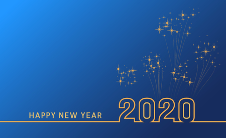 Merry christmas and happy new year 2020 festive greeting card, poster and banner design with golden text and confetti or fireworks on blue background. Year of the Rat. Vector illustration