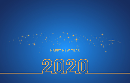 New Year 2020 line gold text design with champagne spark, confetti or fireworks on blue background. Year of the Rat. Vector illustration