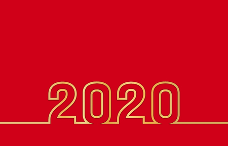 2020 Happy New Year text design with golden numbers on red background. Holiday banner, poster, flyer, greeting card or invitation template. Copy space. Vector illustration Ilustração