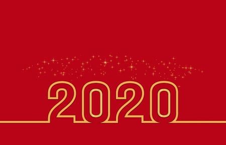Merry christmas and happy new year 2020 greeting card, poster and banner design with golden text and spark confetti or fireworks on red background. Vector illustration