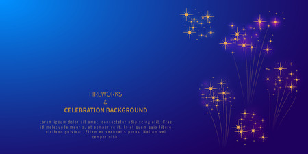 Firework background with stars or confetti and place for text. 4th of july. Independence day. Happy New year or Merry Christmas. Carnival. Banner, poster template design element. Vector illustration