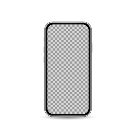 Realistic smartphone template with blank screen isolated on white background. Front view design concept. Vector illustration