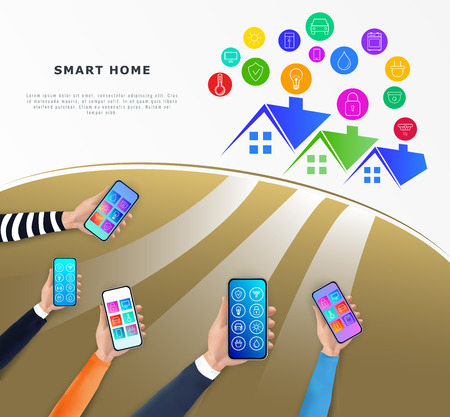 Smart home control technology concept. IOT or internet of things. Hands holding smartphone with mobile app for house automation process. Flat vector illustration. Ilustracja