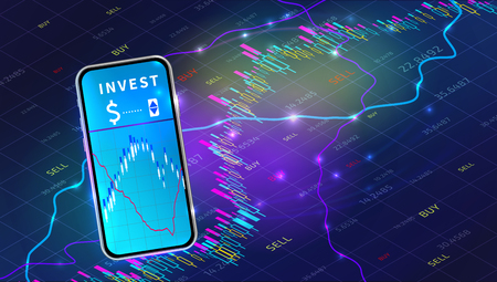 Trade exchange, mobile app business investment technology concept. Realistic hand holding smartphone on background with forex trading graph. Stock market data analytics. Vector illustration Ilustracja