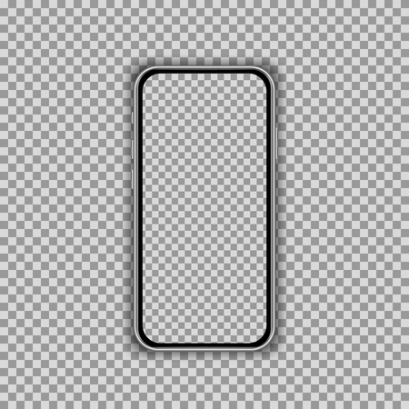 Realistic smartphone screen template isolated on transparent background. Front view mockup. Vector illustration Ilustracja