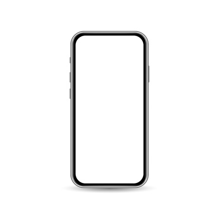 Smartphone template isolated on white background with copy space on screen. Front view banner concept. Vector illustration