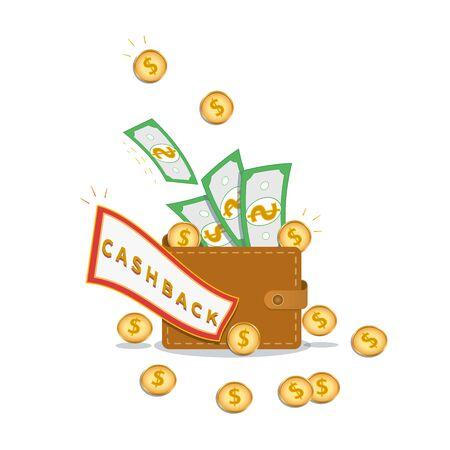 Cashback or money refund concept. Wallet full of dollar cash and golden coins isolated on white background. Loyalty reward program. Design element for banner, poster or flyer