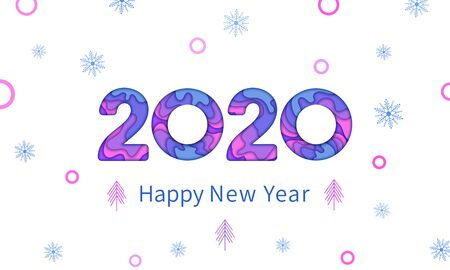 Happy New Year 2020 greeting card text design with color paper cut multilayer number, papercut snowflakes and trees on white background. Holiday banner, poster or invitation template. Year of the rat Ilustracja