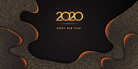 2020 Happy New Year text design on abstract black background textured with golden glittering halftone pattern. Holiday banner, poster, greeting card or party invitation template. Copy space. Ilustracja