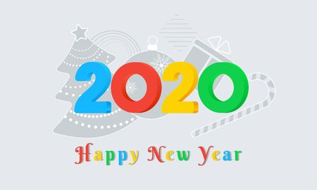 2020 Happy New Year colorful text design with color 3d numbers on grey background with christmas tree, ball, gift box and candy cane. Holiday banner, poster, greeting card template. Year of the rat Ilustracja