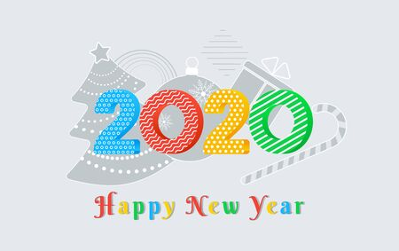 2020 Happy New Year text design with colorful numbers with ornament pattern on grey background with christmas tree, ball, gift box. Holiday banner, poster, greeting card template. Year of the rat Ilustracja