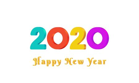 2020 Happy New Year text design with colorful 3d numbers on white background. Holiday banner, poster, greeting card or invitation template. Year of the rat. Copy space. Vector illustration