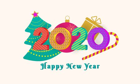 2020 Happy New Year text design with colorful 3d numbers on pink background with christmas tree, ball, gift box and candy cane. Holiday banner, poster, greeting card template. Year of the rat. Vector Ilustracja