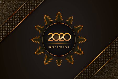 Happy New Year 2020 text design with golden numbers and christmas trees on glittering black background textured with halftone pattern. Festive poster, banner or flyer design. Holiday vector