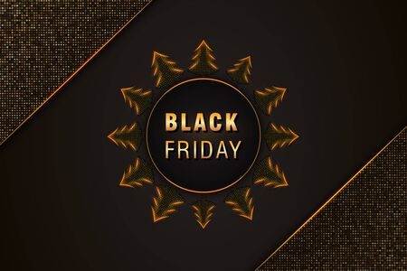 Black Friday sale promotion poster or banner on black abstract background with christmas trees, golden text and glittering halftone pattern. Design element for promotional marketing event