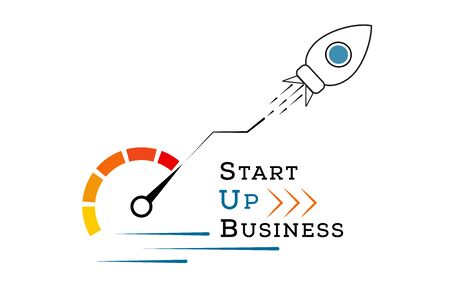 Startup business growth concept. Successful strategy. Rocket launch. Fast project start up and development. Creative idea. Innovation technology. Modern vector illustration for banner or marketing