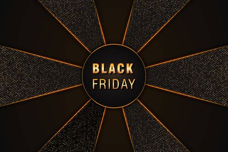 Black friday sale poster, banner layout on black abstract background with golden glittering halftone pattern. Design element for special promotional marketing event, flyer or cards