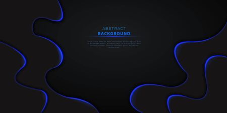 Abstract 3d black wavy background with blue neon lights and text. Futuristic technology design element for cyber monday or black friday sale banner, poster, flyer. Ilustracja