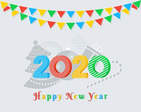 2020 Happy New Year text design with colorful numbers on grey background with party flags garland, christmas tree, ball, gift box, candy cane. Holiday banner, greeting card template. Year of the rat Ilustracja
