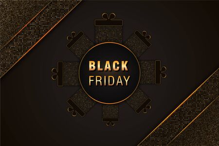 Black Friday sale poster on black abstract background with gift boxes, golden text and glittering halftone pattern. Design element for commercial discount web banner, flyers or cards.