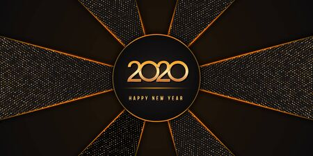 2020 Happy New Year text design with golden numbers on black background textured with golden glittering halftone pattern. Modern holiday banner, poster or flyer design. Copy space