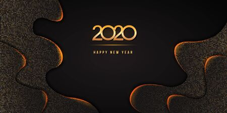 2020 Happy New Year text design with golden numbers on abstract black wavy background textured with glittering halftone pattern. Festive banner or poster design. Holiday vector illustration Ilustracja