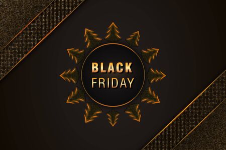 Black Friday sale banner template on abstract black background with golden glittering pattern, christmas trees and text. Design element for sale posters, cards, promotional marketing