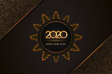 2020 Happy New Year text design with christmas trees on black background textured with golden glittering halftone pattern. Holiday banner, poster, greeting card or invitation template. Copy space.
