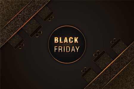 Black Friday sale banner on black abstract background with gift boxes and golden glittering halftone pattern. Design element for discount banner, poster, flyers or cards. Ilustracja